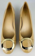 Michael Kors Womens Pump Block Heels Shoes Beige Leather Gold Slip On 9 ... - $49.16