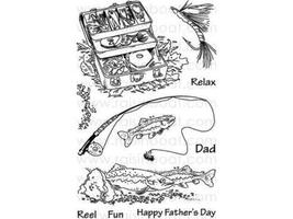 Raisin Boat Relax and Reel Clear Cling Stamp Set #10219