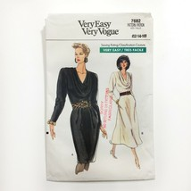 Vogue 7682 Draped Neckline Dress Tapered or Flared Skirt Misses 12-16 Un... - $12.55