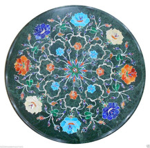 "18""x18"" Marble Round Coffee Table Top Semi Gem Inlay Mosaic Patio Mosaic... - €976,79 EUR"
