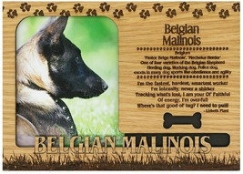 Belgian Malinois Engraved Wood Picture Frame Magnet - $11.58