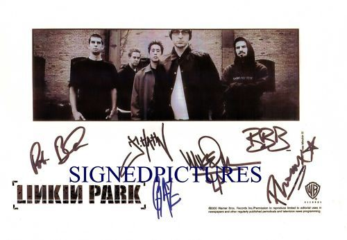 LINKIN PARK GROUP BAND SIGNED AUTOGRAPHED RP PHOTO