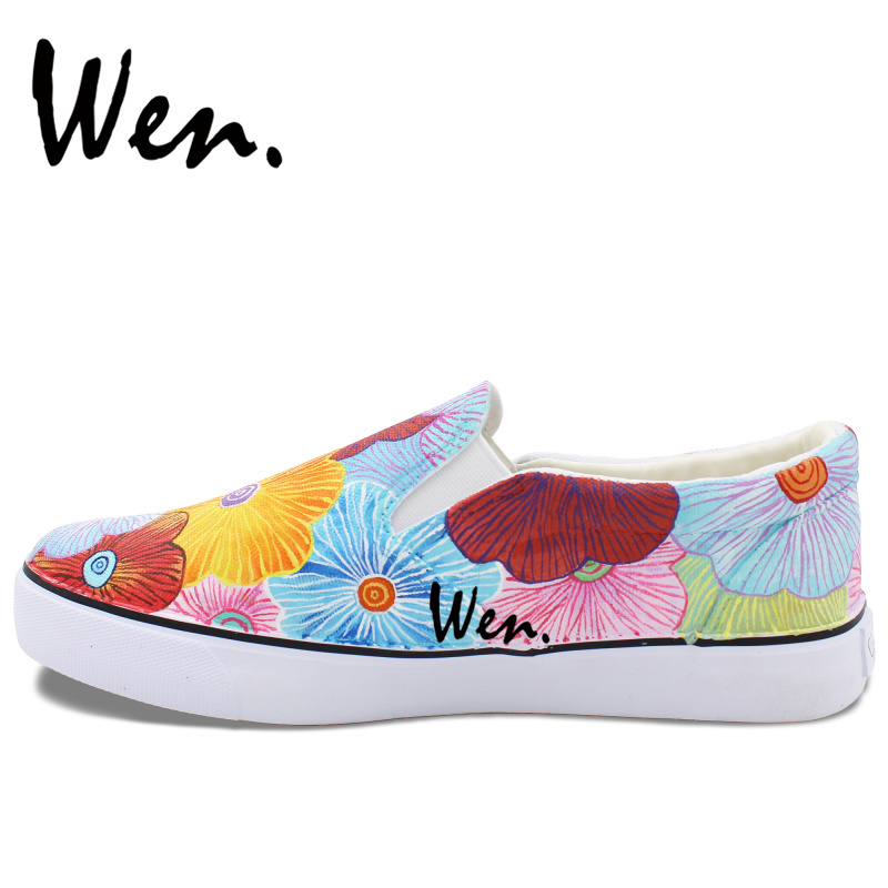 Wen Colorful Flowers Original Hand Painted Shoes Men Women's Slip Ons Canvas