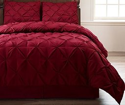 Pinch Pleat Full Size 4-Piece Comforter Set Burgundy Bed Cover, Bedding Set - $47.90