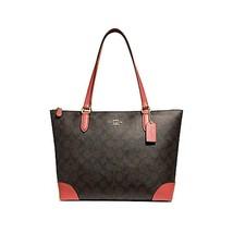 Coach Signature Zip Tote Shoulder Handbag (Brown/Coral), Medium - $188.45