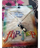"""NEW Flip Flop Pendant Drop Necklace -18"""" Chain - Sterling Silver Finish ... - $7.99"""