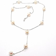 Necklace White Gold 750 18k, Pearls Pink Fishing, with Hanging Charm, Chain image 1