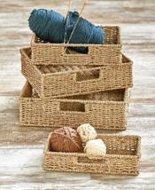 Set of 4 Seagrass Baskets with Insert Handles Storage Organizer Home Decor - $44.16