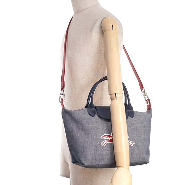 Used Longchamp Le Pliage On The Road Canvas Leather Tote Small Size