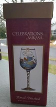 Mikasa Angel Christmas Peace  Hand Painted  Wine Glass 15 Oz New Box 9 inch - $8.49