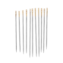 Pack of 12 self treading needles with gold tips