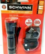 SCHWINN 1 WATT DUAL PURPOSE HEADLIGHT W/ BIKE MOUNT & CARRY STRAP NEW - $9.73