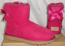 Ugg Mini Bailey Bow Ii Red Violet Suede Sheepskin Boots Size Us 5 Nib 1016501 - $107.86