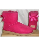 UGG MINI BAILEY BOW II Red Violet Suede Sheepskin Boots Size US 5 NIB 10... - $107.86