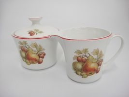 Pontesa Spain Four Cup Coffee Set Pot Sugar and Creamer Fruit Design Red Trim image 7