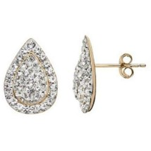 Sterling Silver NWT $125 Teardrop Stud Earrings Crystal 14k Gold-Bonded ... - $47.49