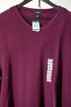 New Alfani Mens L Sweater Burgundy V-Neck Pullover Long Sleeves Shirt NWT - $23.48