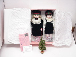 Brother & Sister Xmas Collectable Porcelain Dolls With Stands By MYD #34... - $69.29