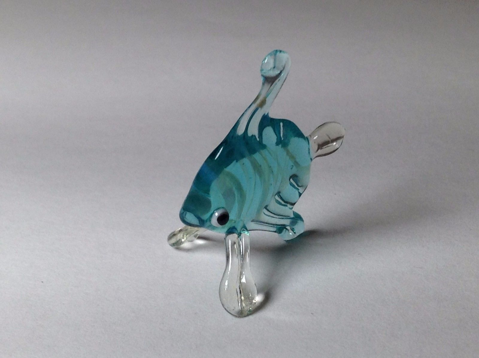 Miniature Glass Aqua Striped Tropical Angel Fish Handmade Glass Made USA