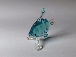 Miniature Glass Aqua Striped Tropical Angel Fish Handmade Glass Made USA - $39.99