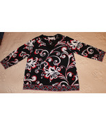 BEAUTIFUL 3/4 SLEEVE BLACK WHITE RED FLOWING TOP BLOUSE SEQUINS NECK S M - $6.99
