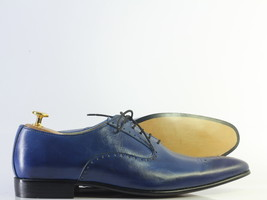 Handmade Men's Blue Leather Heart Medallion Lace Up Dress/Formal Oxford Shoes image 3