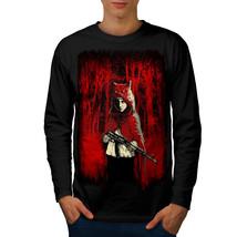 Girl Hunter Wild Fantasy Tee Scary Wolf Men Long Sleeve T-shirt - $14.99