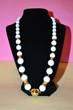 Vintage White LIZ CLAIBORN Beaded Statement Necklace Costume Chic Bead J... - $12.97