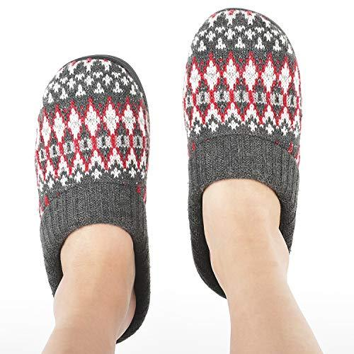Zigzagger Women's Memory Foam Indoor-Outdoor House Sweater Knit Slippers with Ri