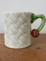 Set 4 Vtg 1980 Fitz Floyd Basketweave Harvest Garden Veggie Handle Coffee Mugs - $79.99