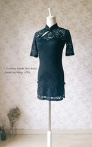 Women Chinese Style Short Sleeve Black Lace Dress Short Black Lace Party Dresses image 5