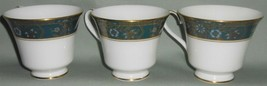 Set (3) Royal Doulton CARLYLE PATTERN Bone China Footed Cups ENGLAND - $49.49