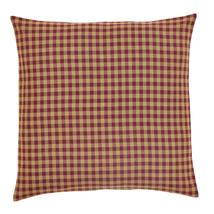 BURGUNDY CHECK 2-pc Fabric Euro Sham Set - 26x26 - Burgundy/Tan  -VHC Brands