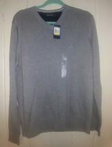 Nautica Mens Gray 100% Cotton Long Sleeve V Neck Sweater Medium Embroide... - $26.18