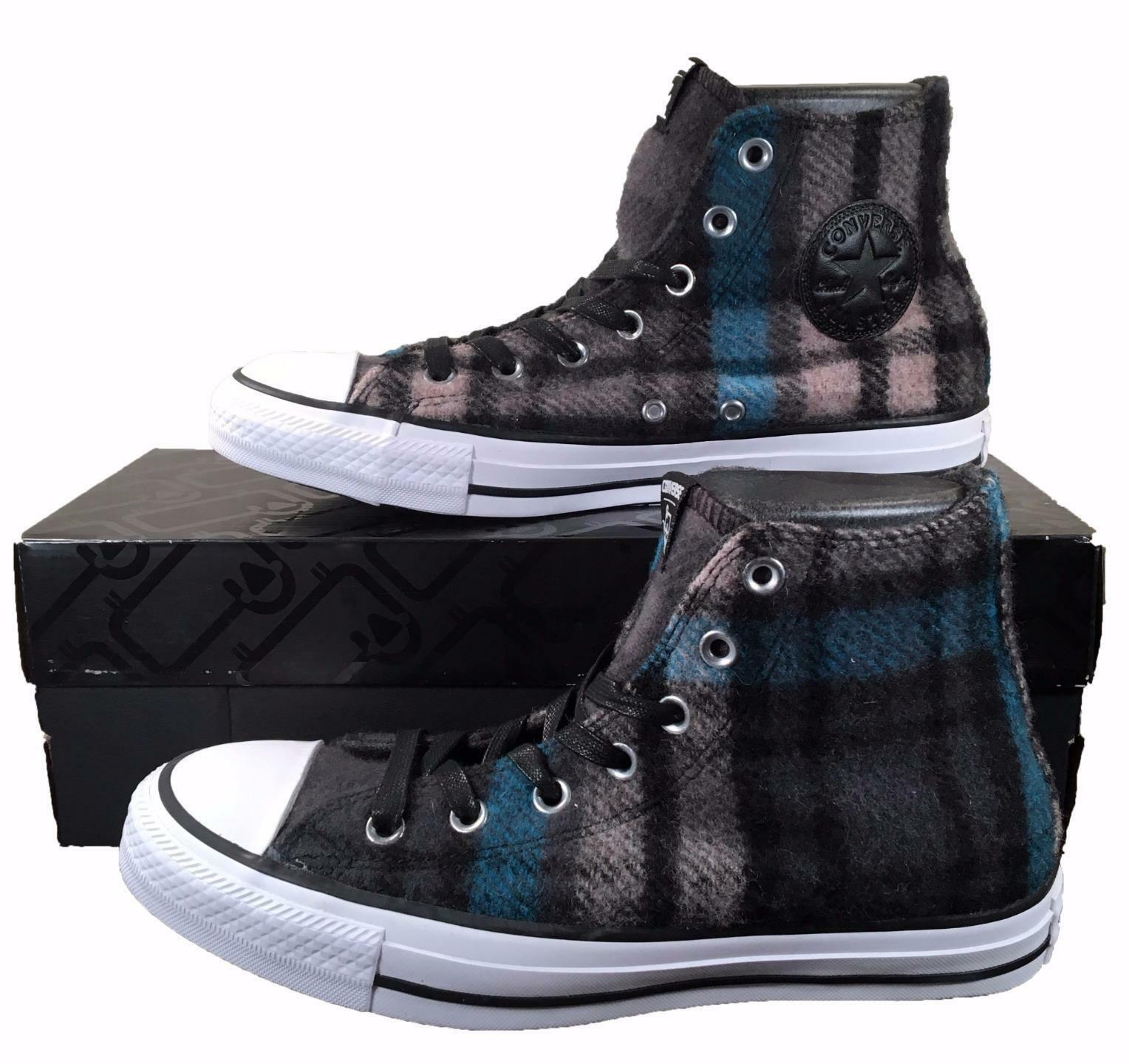 Converse by Woolrich Chuck Taylor All Star Sneakers Blue/Black Plaid Wool 149455 - $80.00