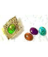 Turquoise Ring Green Blue Orange Purple INTERCHANGEABLE STERLING size 7  - $55.66