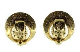 VINTAGE VICTORIAN REVIVAL ENGRAVED ROUND CLIP SOFT BACK EARRINGS NICE! M... - $80.99
