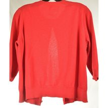 Eileen Fisher sweater M red cardigan 3/4 sleeves organic cotton cashmere blend image 5