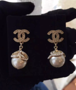 Authentic Chanel 2015 CC Crystal Logo Pearl Dangle Gold Earrings NEW - $499.99
