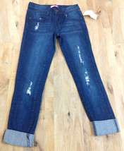 AQUA Blue Dark Wash Distressed Skinny Girls Jeans, Size 7 - $24.74