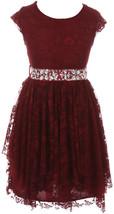 Flower Girl Dress Floral Lace Ruffle Layers Skirt Burgundy JKS 2095 - $32.66+