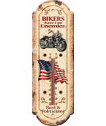 "Nostalgic Tin Thermometer ""Bikers 2 Enemies "" Thermometer Wall Hanging - $12.25"