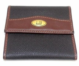 100% Authentic Dunhill Dark brown Leather coin purse Made Italy Vintage ... - $89.10