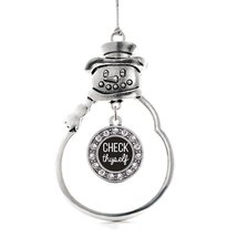 Inspired Silver Check Thyself Circle Snowman Holiday Christmas Tree Orna... - $14.69