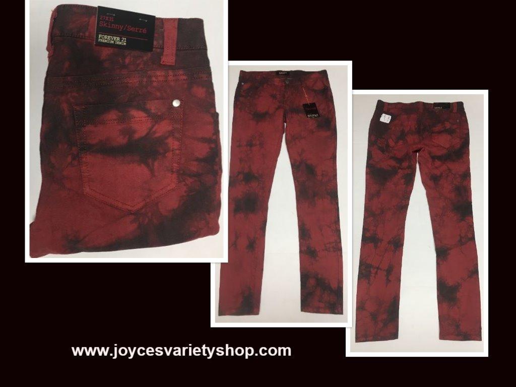 Forever 21 Denim Skinny Jeans Sz 27 x 31 Red & Black Tie Dyed