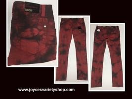 Forever 21 Denim Skinny Jeans Sz 27 x 31 Red & Black Tie Dyed  image 1