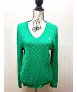 Ralph Lauren Women Cable Knit Sweater V- Neck Green Medium - $23.30