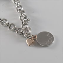 925 RHODIUM SILVER JACK&CO BRACELET WITH 9KT ROSE GOLD HEART LOVE  MADE IN ITALY image 3
