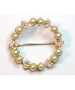 Faux Pearl pink enamel leaves round pin gold to... - $9.95