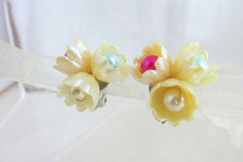 Unique Tri Cluster Cupped Flower Earrings Clip Pastel Faux Pearl or East... - $13.50